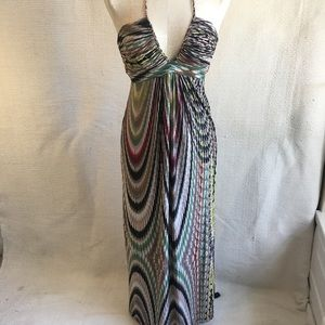 Anthro Tbags LA Ripple Print Halter Maxi Dress